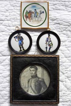"Louis Bonaparte, engraving David del . Paquien. in old English green leather frame and 3 miniature porcelain: ""vide poche"" Napoleon signed Meissonnier porcelain of Limoges and two medallions in porcelain Miniature of Paris."