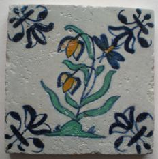 Antique tile with polychrome flower with insect!  (Rare)