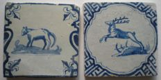 Lot of 2 antique tiles with animals Deer and Wolf