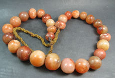 A Carnelian prayer bead necklace - Himalayan region - late 20th century.