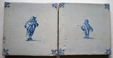 2 antique tiles with figures
