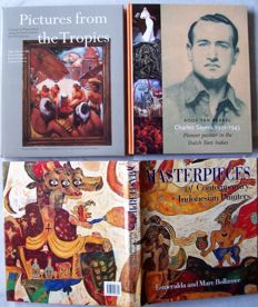 Lot with 4 books about traditional and modern painting in Indonesia.