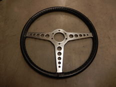 "Vintage Original Jaguar E Type Series 2 Steering Wheel Aluminium and Black Leather Stitched 16""  41 cm Flat"