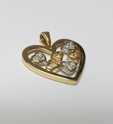 18 k White- and yellow gold pendant heart with diamonds, total of 0.09 ct