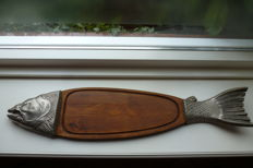 Large oak serving tray for fish.