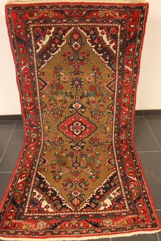 Old high quality handwoven Persian carpet Hamadan Bidjar Malayer made in Iran around 1950 plant colourd 115 x 225 cm