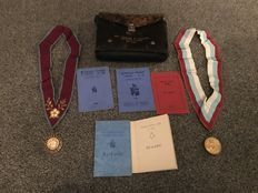 Leather case of Masonic medals estate clearance collection