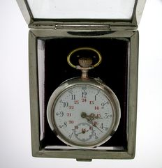 Art Nouveau pocket watch with holder box 1870