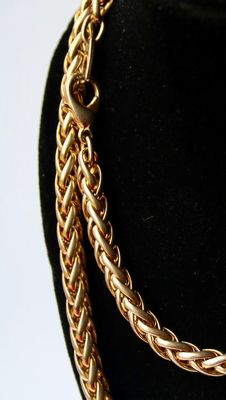 Long braided very heavy gold plated chain with good clasp about 1960s. Unisex.
