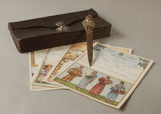Antique letter case with a letter-opener and telegrams