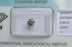0.46 ct Brilliant cut diamond, light brownish yellow, VG/G/VG I1 – NO RESERVE -