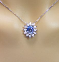 Necklace in 18 kt gold with diamonds and 100% natural blue sapphire of 2.81 ct – Laboratory certificate – No reserve price