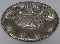 Embossed silver tray, 19th century