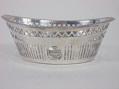 Antique silver plated bread or bon bon basket with beautiful engravings, England