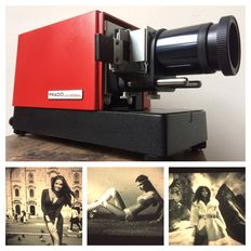 Leitz Prado slide projector with 4 stylish slides