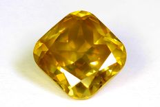 Diamond – 0.76 ct – Fancy Intense Yellow – SI1 – (Colour enhanced) – No reserve