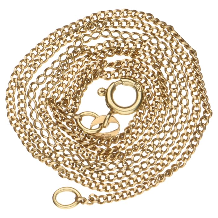 14 kt/585 gold, Yellow gold curb link necklace 14 kt - 48 cm
