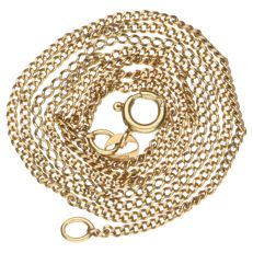 Yellow gold curb link necklace, 14 kt – 48 cm