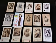 72 pious images including 20 relics - stuffs, wood and earth of Saint Teresa of the child Jesus - from 1924.