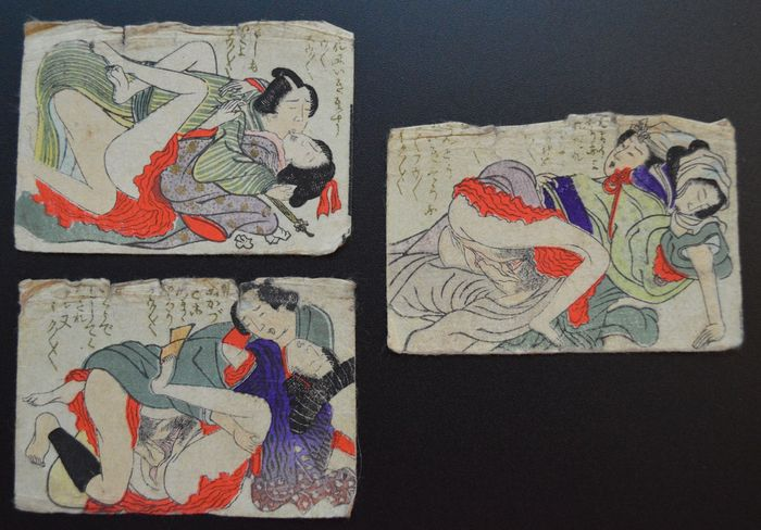 Set of 3 original erotic Shungas – Japan – mid 19th century