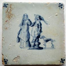 Antique tile with figures, special image, Grauda tile