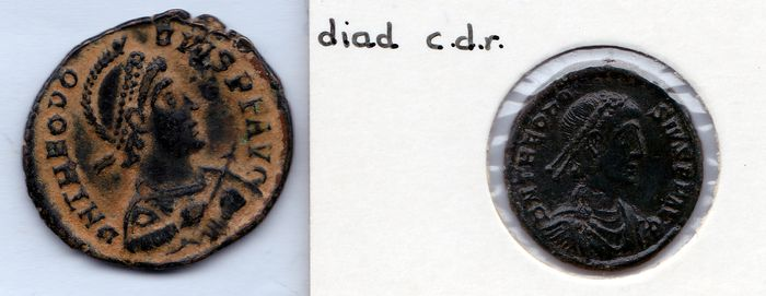 Roman Empire -  Lot comprising 2 AE coins of emperor Theodosius I, 379-395 AD with 1. Victoria, emperor in galley 2.Concordia