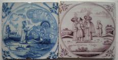 Lot of 2 antique tiles with biblical scene