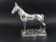 Original Desmo Chrome Car Mascot Horse Stallion Stamped Mascot Measures 10 cm Height 9.5 cm Length