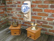 Lot of one antique PeDe wall mounted coffee grinder, two large standing coffee grinders.