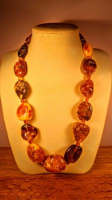 Genuine Baltic amber multi colour necklace,  131 grams