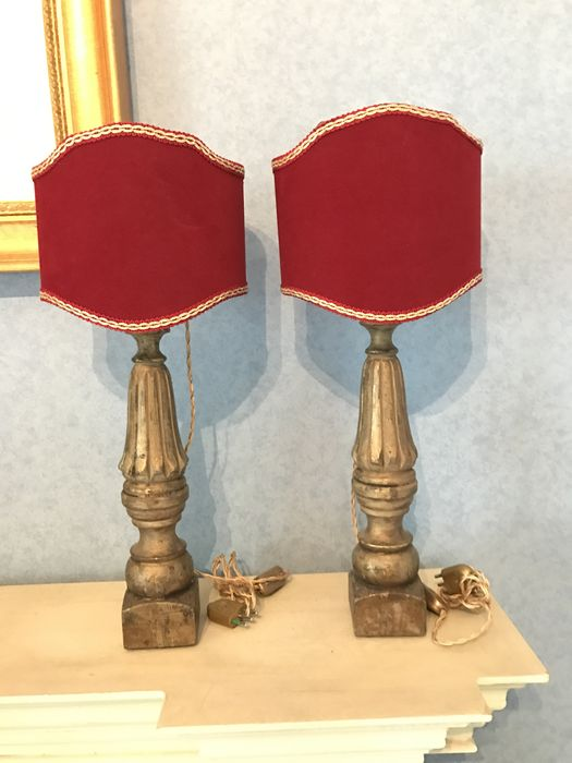 Pair of Table Lamps in wood with red Lampshade - Base torch holder of XIX Century
