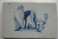 Antique tile, small size with Whippet dog!  Rare