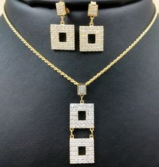 Set of necklace and earrings in 18 kt (750/1000) yellow gold. Total weight: 12.23 g