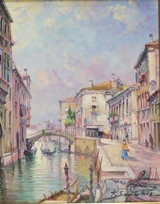 Emilio Sanchiz (20th c.) - Vista de Venecia