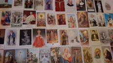 Wonderful collection of 150 ancient holy cards of various different periods and different series.