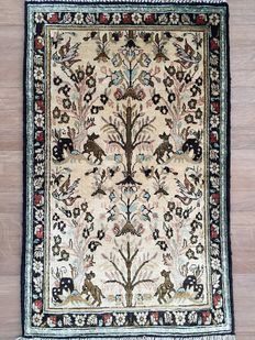 """100% SILK QUM approx. 810,000 knots per sq. m - """"Tree of Life with Animals"""" - Persian rug - approx. 89 x 56 cm - GREAT CONDITION"""