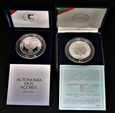 Portugal – 2 silver coins of 100 Escudos face value, in their own special case – 1986 and 1995 – Azores/Lisbon