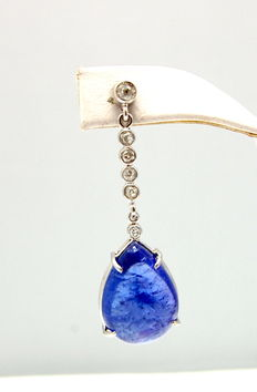 A pair of white  gold Tanzanite and Diamond earrings.