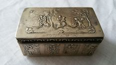 Silver box decorated with cupids and 19th century figures, Netherlands, 1888