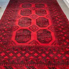 Superior deep red Afghan/Persian Buchara rug, 198 cm x 141 cm, superb quality