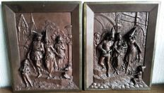 Leon Perzinka (active 1887-1903) - a pair of very nice bronze reliefs depicting 'Marriage' and 'Baptism of the firstborn' - Versailles, France - ca. 1900