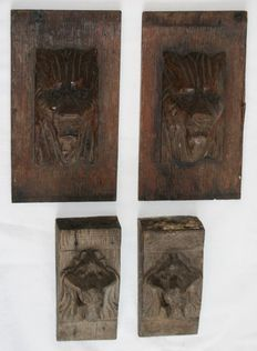 Lot of 4 carved lion heads - Belgium - 19th century