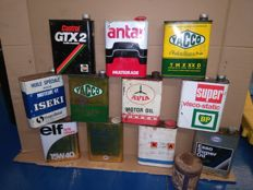 Rare lot of vintage oils cans of 2 litres. Collectors. 60s-70s