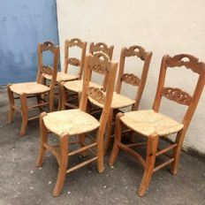 Six Old Country Pine Wood Chairs, Handmade Carved Back and Rush Seats, 1940's, Portugal