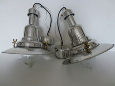Two industrial style hanging lamps