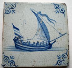 antique tile with sailing boat with people (rare)