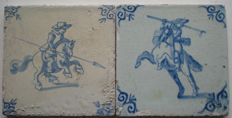 Lot with 2 antique tiles with riders