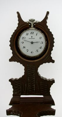Victorian Vintage Antique Black Forest Pocket Watch Holder Stand Ladies with Pocket Watch Germany