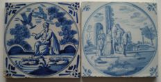 Lot of antique tiles with biblical scene.
