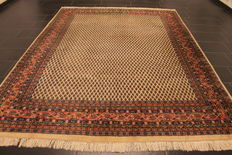 Magnificent hand-woven Oriental palace rug, Sarouk Mir, 220 x 295 cm, made in India, excellent highland wool, circa 1990